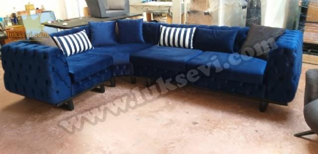 İtalyan Cehester Koltuk Takımları Köşe Koltuk Metal Ayak Koyu Mavi Köşe Koltuk