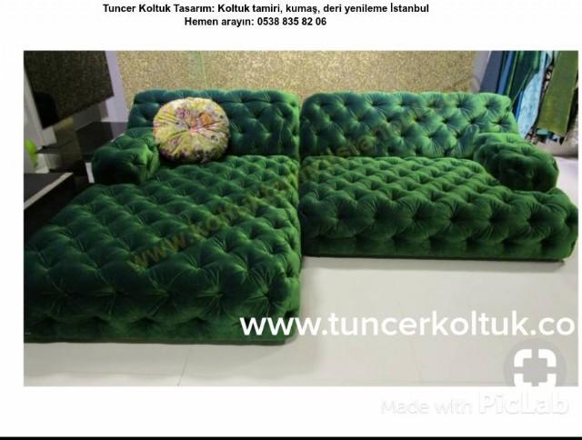 İtalyan Chester Modelleri, Chester Kanepe Modelleri,  Yeşil Kumaş Kanepe Modelleri