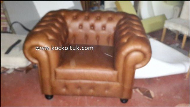 Kahverengi  Gerçek Deri Chester Tekli Koltuk