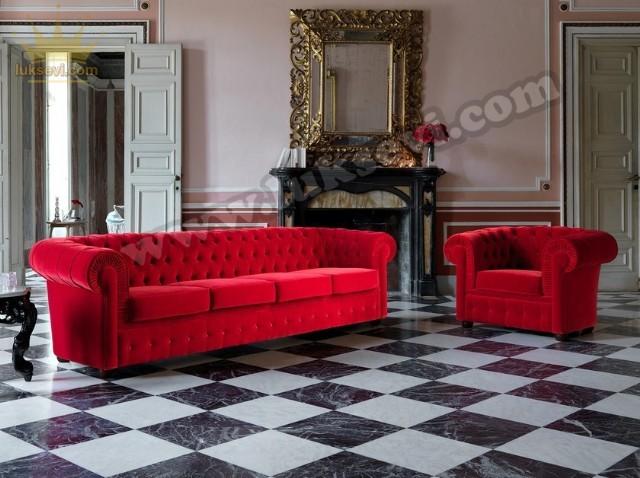Kırmızı Chester Koltuk Takımı Kadife Klasik Tasarım