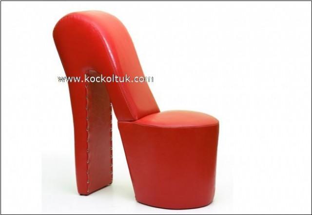 Kırmızı Deri Ayakkabı Koltuk Modeli