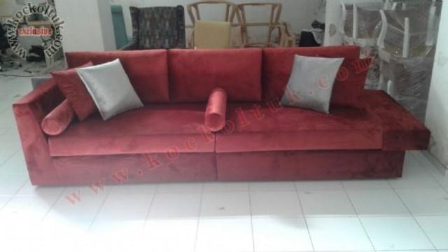 Kırmızı Kadife Kumaş Rahat Modern Koltuk