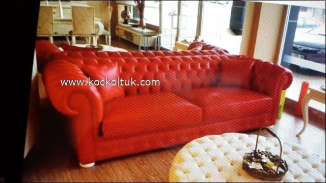 Kırmızı Renk Gerçek Deri Üçlü Chester Koltuk