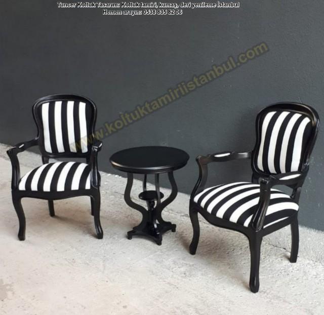 Klasik Küçük Tekliler Siyah Beyaz Çizgili Kumaş Döşemeli Ahşap İskelet Siyah Cila Renk Vintage Model