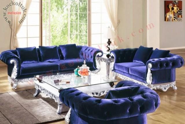 Klasik Oymalı Chester Koltuk Takımı Mavi Kadife Art Deco Tasarım