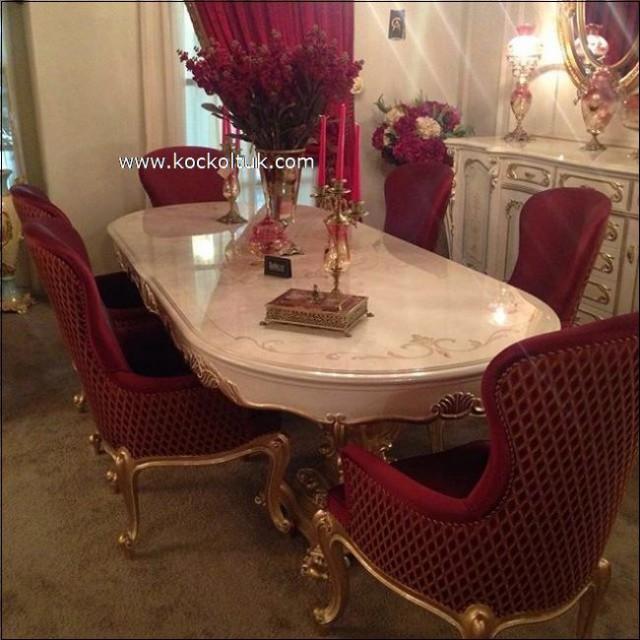 Klasik Oymalı Şık Yemek Odası