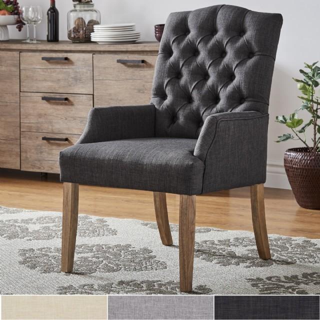 Kolçaklı Yemek Sandalyesi Modern Gri Keten Düğmeli Lüks Sandalye