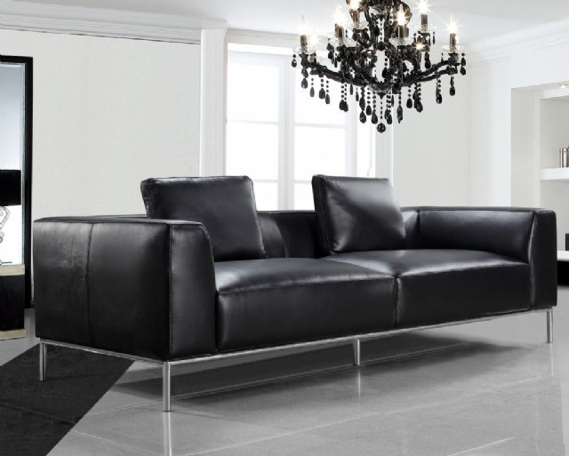 Koltuk Takım Modern Üç Kişilik Kanepe Modeli Siyah Renk Gerçek Deri