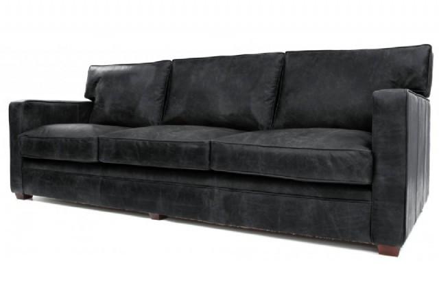 Koltuk Takımlar Modern Üç Kişilik Kanepe Modeli Gerçek Deri Siyah Renk