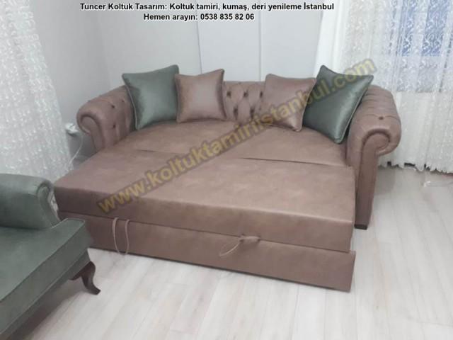 Koltuk Takımlar Salon Kanepe Yataklı Chester Koltuk Üretimi Nubuk Kumaş Silinebilir