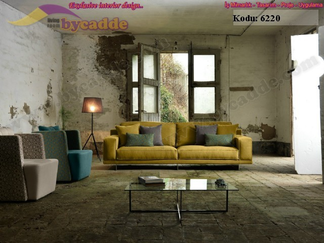 Konfor Kalite Hardal Sarısı Modern Kanepe Üçlü Koltuk Dekorasyon