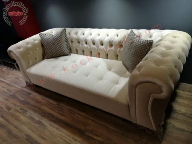 krem kadife kumaş chester üçlü koltuk,chester koltuk,üçlü chester koltuk,chester koltuk imalatı yapılır,modoko chester koltuk,keyap ,rahat chester koltuk