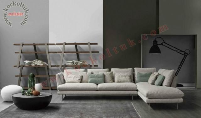 L Koltuk Takımı Keten Kumaş Bej Renk Modern Konforlu Exclusive