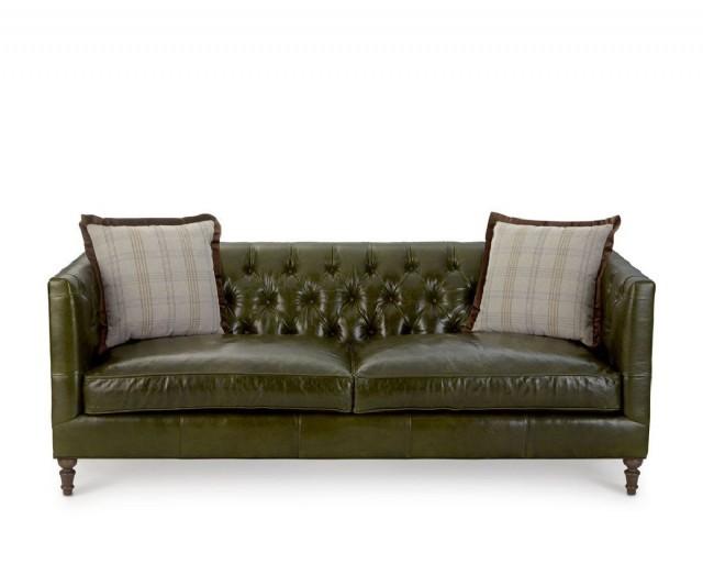 Lüks Koltuk Modeli Hakiki Deri Yeşil Renk Kanepe Gerçek Koltuk Modern Klasik Takım Üretim