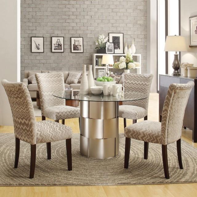 Lüks Modern Ahşap Sandalye Yuvarlak Cam Masa Yemek Takımı
