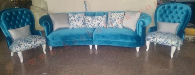 Mavi Kadife Chester Üçlü Koltuk Ve Tekli Berjer