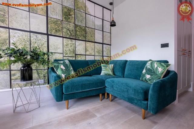 blau moderne wohnzimmer ecksofa blau samt tuch polstermöbel