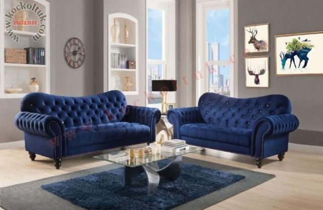 Mavi Renkli Chester Koltuk Takımı Modern Klasik Tasarım