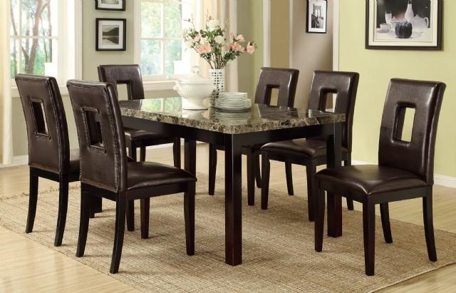 Mermer Masa 6 Sandalye Deri Yemek Takımı Modern Tasarım Yemek Odası