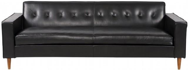 Modern Deri Takım Siyah Renk Klasik Deri Kanepe Model