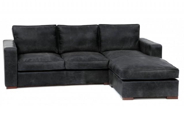Modern Köşe Koltuk Takım Siyah Renk Gerçek Deri L Modüler