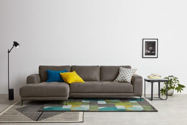 Modern Köşe Koltuk Takımı Gerçek Deri Köşe Koyu Renk Sabit Oturum Özel Tasarım Gerçek Deri Köşe Kolt