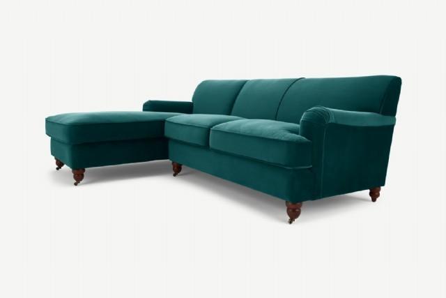 Modern Köşe Takım Kanepe Modeller Yeşil Renk Kadife Kumaş