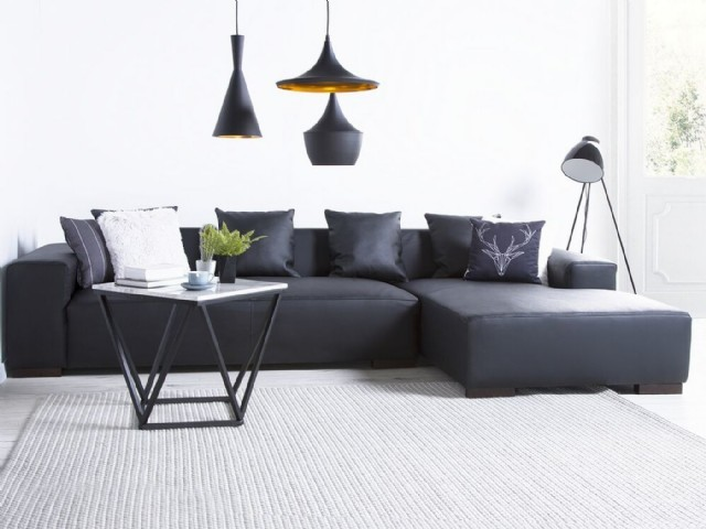 Modern Köşe Takımı Köşe Koltuk Modeller Siyah Renk Gerçek Deri