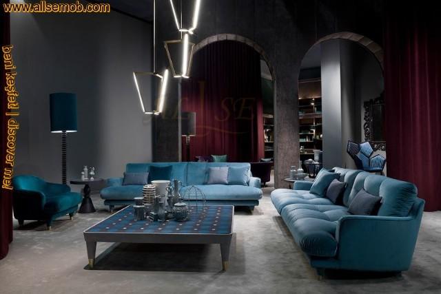 Modern Mavi Oturma Grubu Koltuk Takımı Lüks Salon Oturma Odası Tasarımı