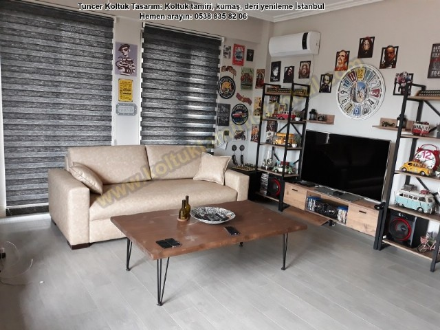 Modern Salon Takımı Deri Koltuk Yüz Değişim Krem Rengi Deri Düz Hatlı Kanepe