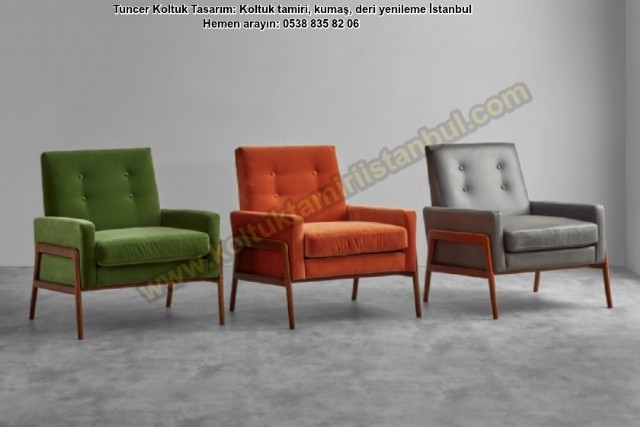 Modern Şık Tekli Koltuk, Tasarım Berjer Dekoratif Koltuk Ürünlerimiz Gürgen Çerçeveye Sahip İskelet,