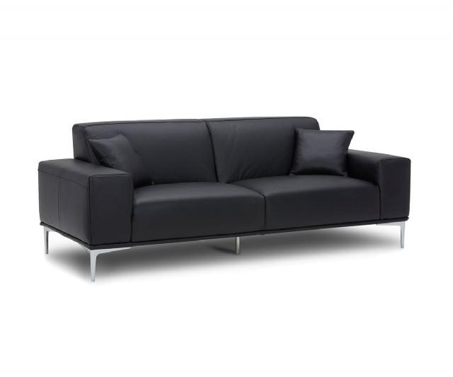 Modern Üçlü Koltuk Gerçek Deri Kanepe Modeli Siyah Renk
