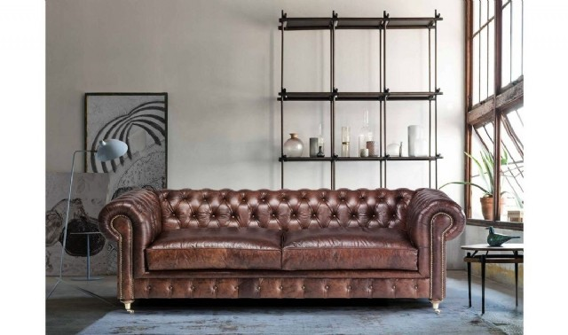 Özel Tasarım Hakiki Deri Kanepe Chester Koltuk Taba Renkli Modern Lüks