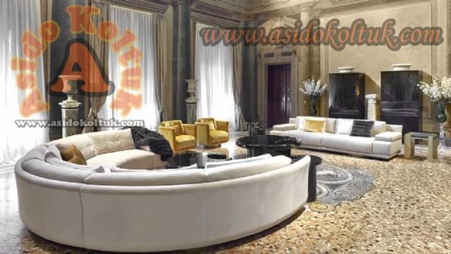 Özel Üretim Yuvarlak Salon Koltuk Takımı Villa İçin Oval Köşe Koltuk