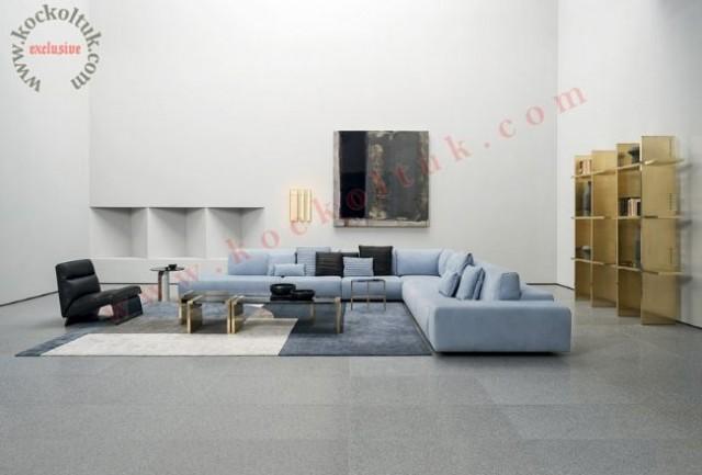 Salon Büyük Ölçü Modern L Köşe Koltuk Takımı Açık Mavi