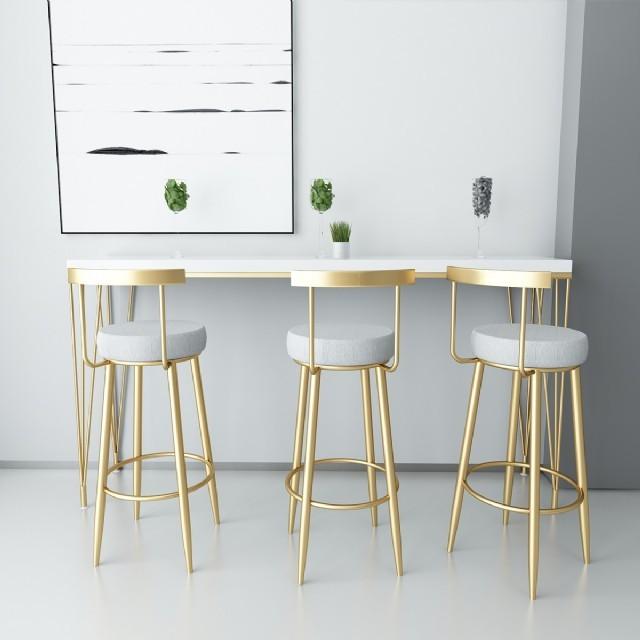 Sarı Metal Bar Sandalyesi Modern Lüks Yüksek Sandalye Modelleri