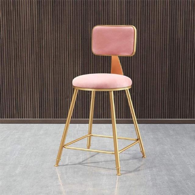 Sarı Metal Yüksek Ayaklı Bar Sandalyesi Pembe Bar Sandalyesi