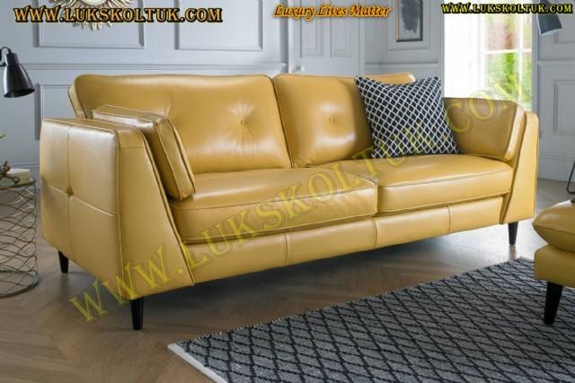Sarı Renk  Modern Hakiki Deri Koltuk Takımı Sarı Deri Lüks Koltuk