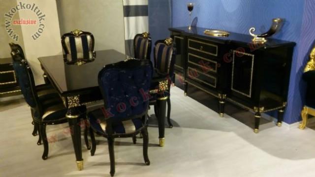 Siyah Cila Altın Varak Oymalı Yemek Masası Ve Konsol
