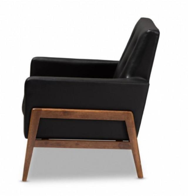 eri deri ahşap tekli koltuk siyah rengi gerçek deri koltuk