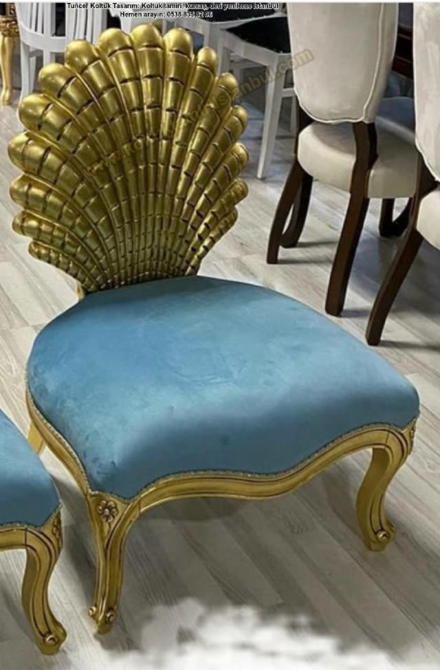 varak cilalı tekli koltuk modeli klasik ahşap ber