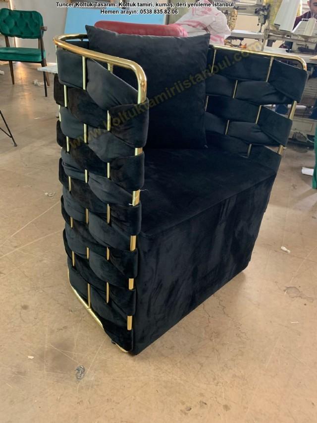 Tekli Koltuk Örgülü Modeli Metal Detaylı Berjer Antrasit Rengi Tasarım