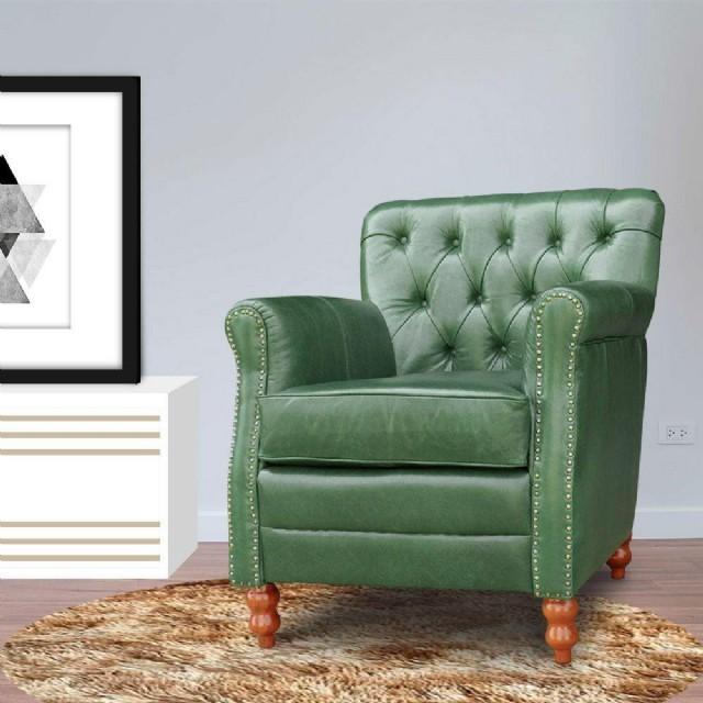 Vıntage Berjer Modeli Yeşil Renk Gerçek Deri Döşemeli Olup Oturma Odanıza Şık Ve Rahat Bir Minyon Te