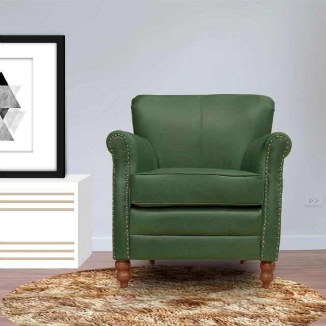 Vıntage Koltuk Tekli Modeller Dekoratif Deri Berjer Koltuk Yeşil Renk