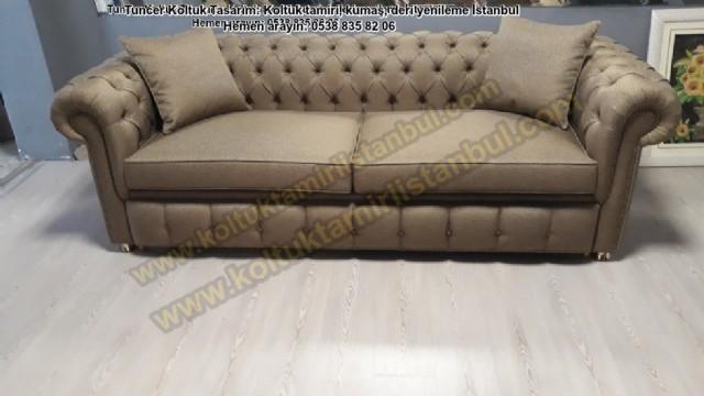 Yataklı Chesterfield Koltuk Model Üretim İstenilen Kumaş Renk Seçeneği İle