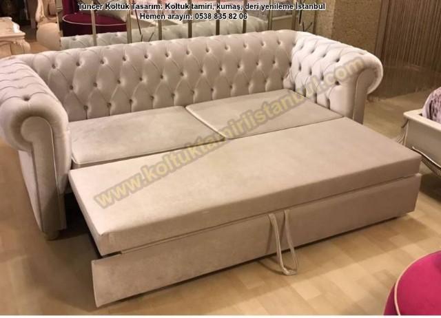 Yataklı Kanepe Modeli Ve Parlak Kadife Kumaş Kaplama