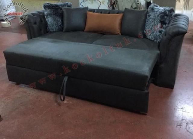 yataklı koltuk koltuk takımları nubuk kumaş yatak