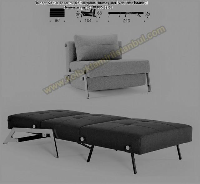 Yataklı Tekli Koltuk Modern Kolsuz Modeli