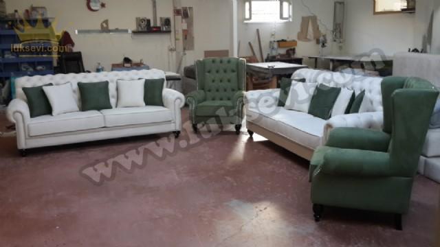 Yeşil Beyaz Chester Koltuk Takımı Klasik Tasarım