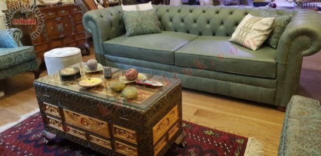 Chester Yeşil Gerçek Deri Yataklı Klasik Chester Koltuk